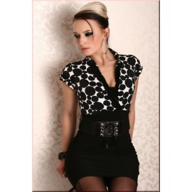 Noble Business Belt Black White Pencil Skirt AG2513
