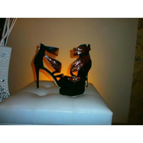 Sandalo nero-oro donna AG336S
