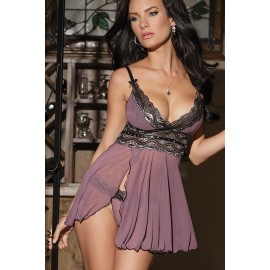 Babydoll porpora..Mesh and Metallic Lace Babydoll AG21308