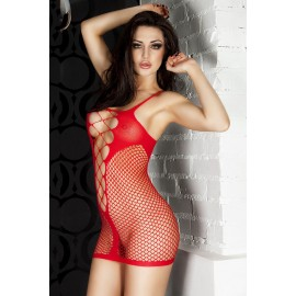 Babydoll rosso..Red Fishnet See-through Chemise Dress AG21344-1
