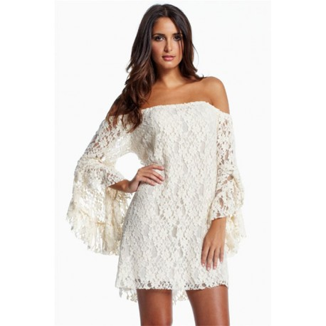 Cream Lace Mini Dress AG2809
