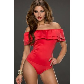 Red Hot Sexy Off-shoulder Teddy Lingerie AG3173