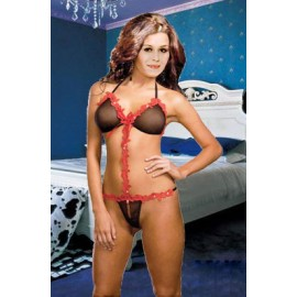 Completino nero..Red and Black Mesh Teddy AG3090