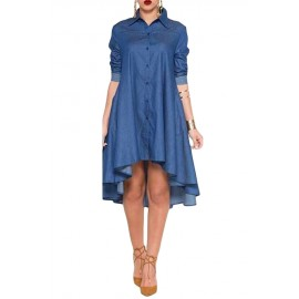 Abito Camicia Blue/Jeans Svasato AG61215-5
