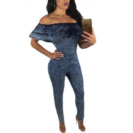 Sexy Tuta Jeans Blu Elasticizzata AG64262-5