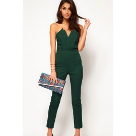 Green Sexy Jumpsuit with Pleated Bust Origami Detail AG6211-1