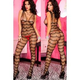 Open Crotch Scalloped Strings Body Stocking AG79393