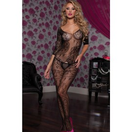 Swirl and Floral Lace Open Crotch Body Stocking AG79394