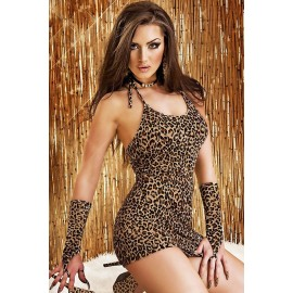 Leopard Chemise Dress with Gloves AG21502