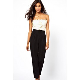 White&Black Bandeau Jumpsuit with Frill Front AG6225-1