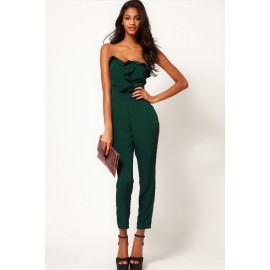 Green Bandeau Jumpsuit with Frill Front AG6225-3