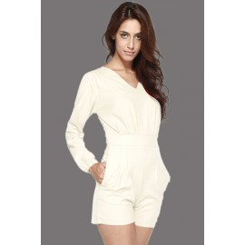 White V Neckline Short Casual Jumpsuit AG6236-1