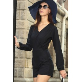 Black V Neckline Short Casual Jumpsuit AG6236-2