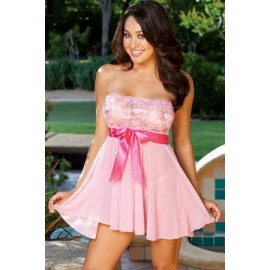 Pink Tie Front Babydoll AG2388-3